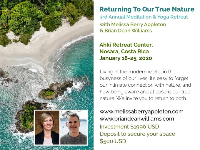 Our True Nature meditation and yoga retreat in Costa Rica, January 2020!